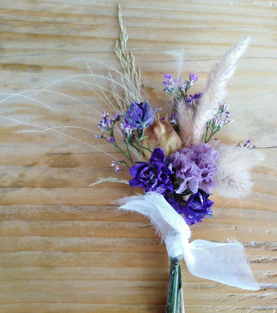Blue Eyes Dried Flower Buttonhole