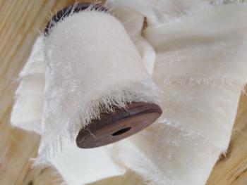 Winter white, velvet silk ribbon