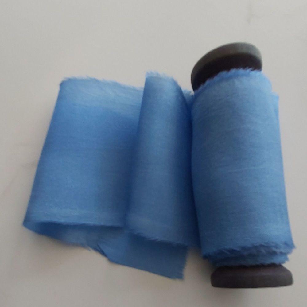 Summer blue silk ribbon