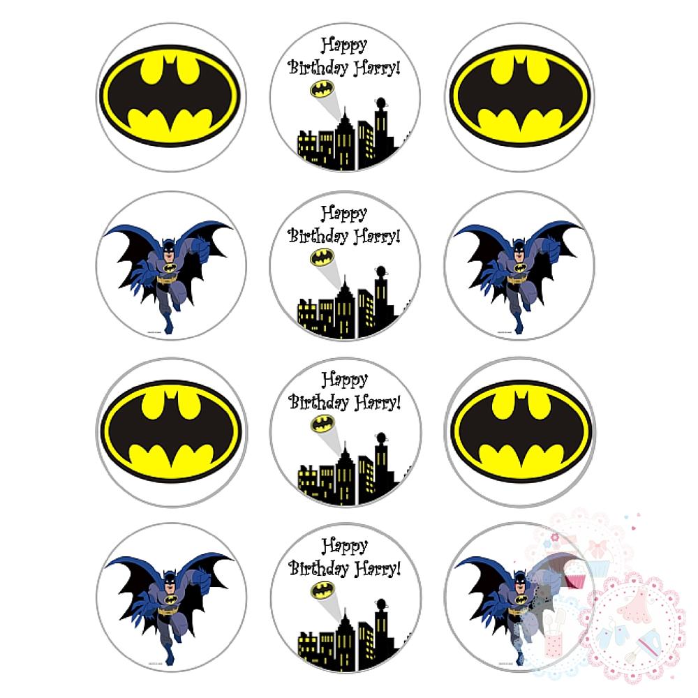 Batman Superhero Cupcake Toppers - Personalised