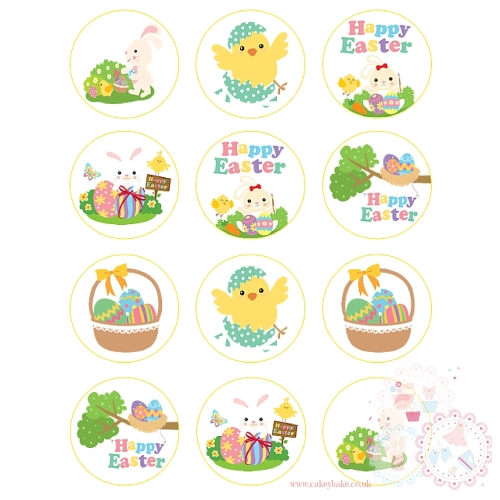 Cute Easter Bunny Cupcake Toppers