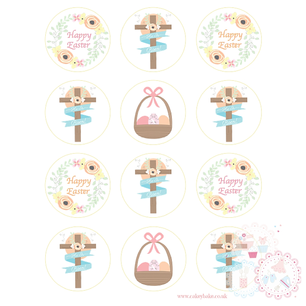Easter Cross 'He is Risen' Cupcake Toppers