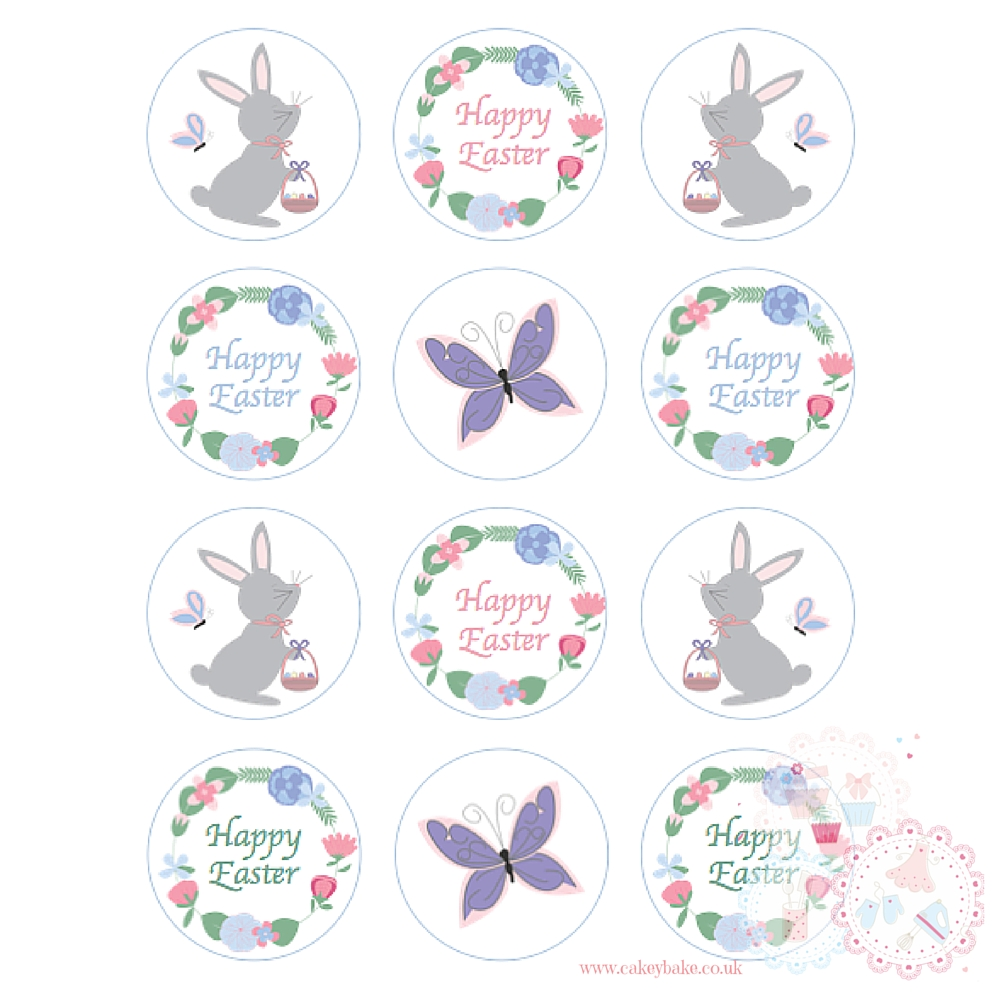 Easter Bunny Butterfly Cupcake Toppers