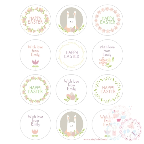 Easter Bunny Delicate Floral Cupcake Toppers