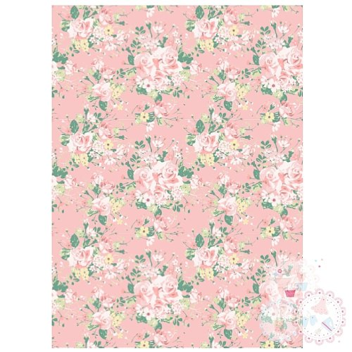 Pink Roses Background A4 Edible Printed Sheet