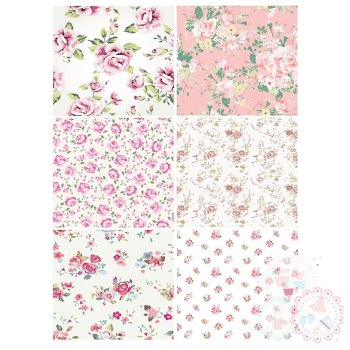 Ditsy Pink Roses Patchwork A4 Edible Printed Sheet