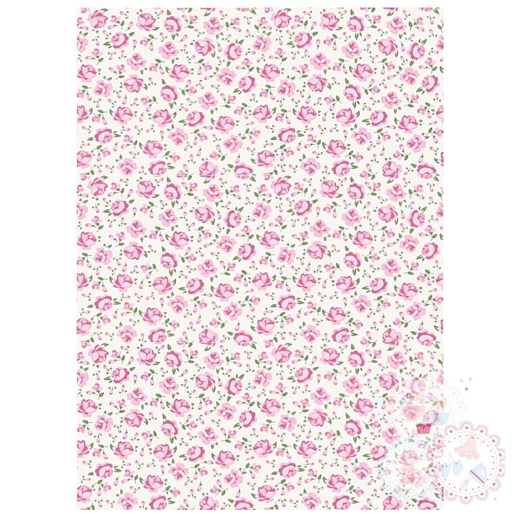 Pink & Cream Roses A4 Edible Printed Sheet