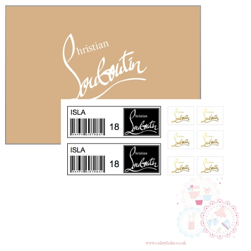 Edible Icing Sheet - Louboutin Shoe Box Lid and Labels set