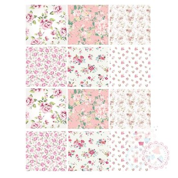 Ditsy Pink Roses Patchwork A4 Edible Printed Sheet x 12 squares