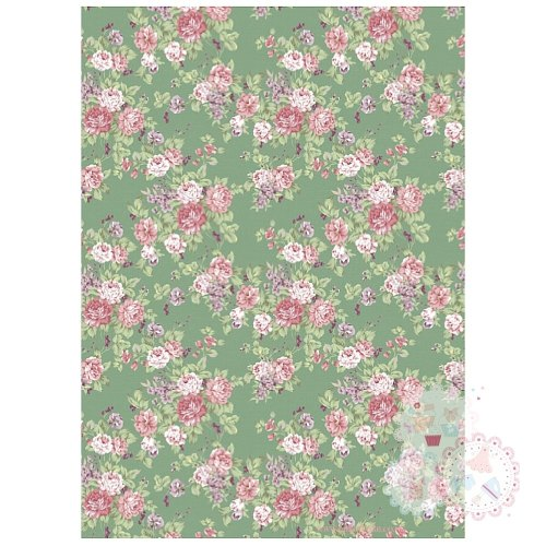 Roses on a Vintage Green Background A4 Edible Printed Sheet