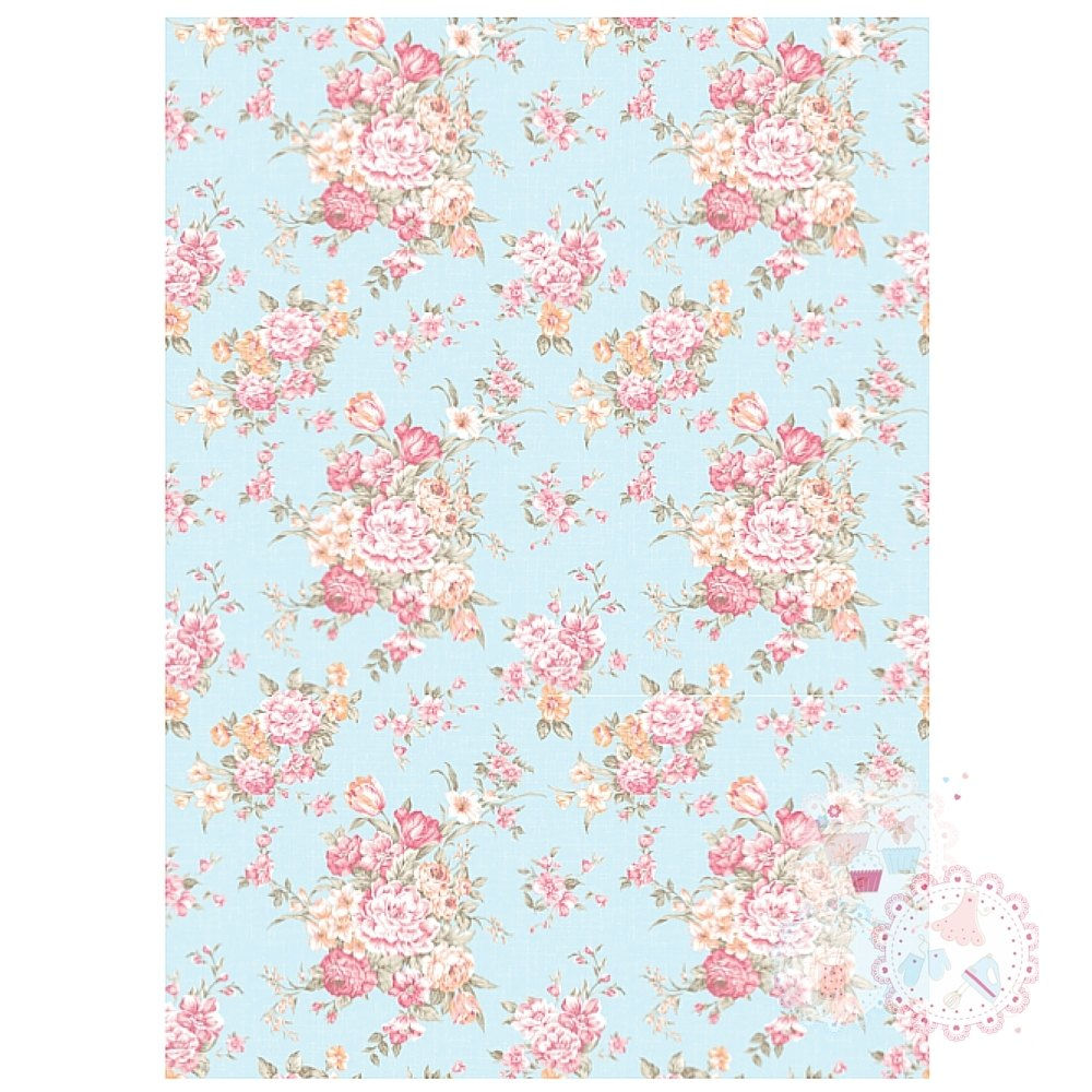 Roses on a Pale Blue Vintage Background A4 Edible Printed Sheet
