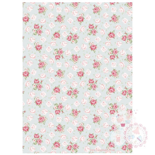 Roses on a Blue Vintage Background A4 Edible Printed Sheet