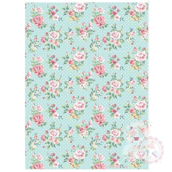 Roses on a Turquoise Blue Background A4 Edible Printed Sheet