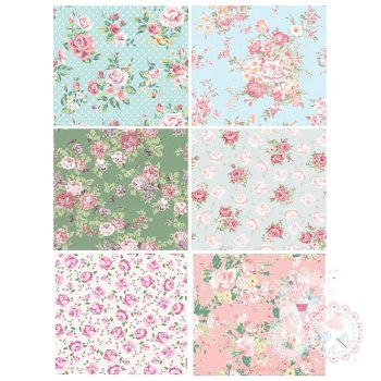 Patchwork Sheet of Rose designs x 6 - Blue, Green , Pink A4 Edible Printed Sheet