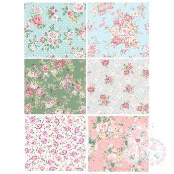 Patchwork Sheet of Rose designs x 6 - Blue, Green , Pink A4 Edible Printed Sheet