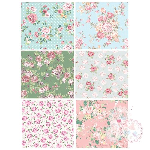 Patchwork Sheet of Rose designs x 6 - Blue, Green , Pink A4 Edible Printed