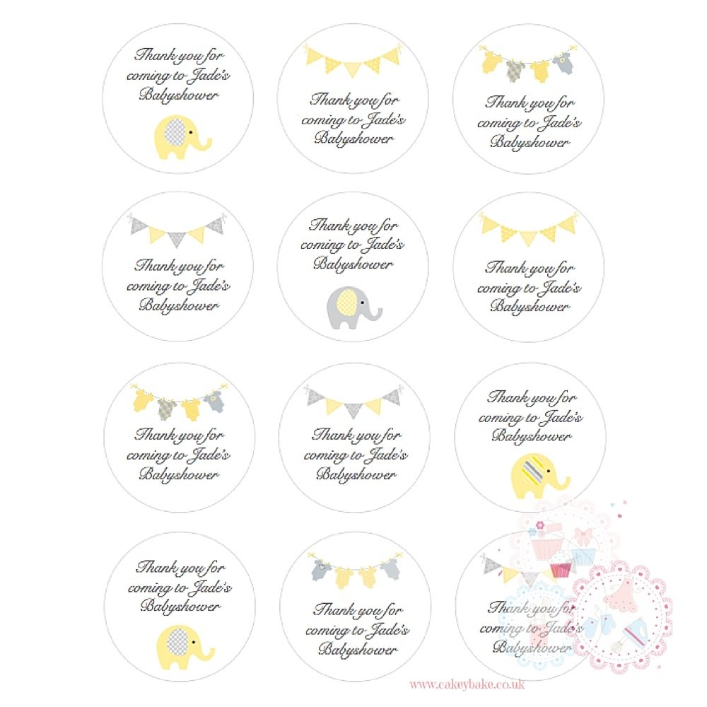 Yellow Babyshower Cupcake toppers - personalised