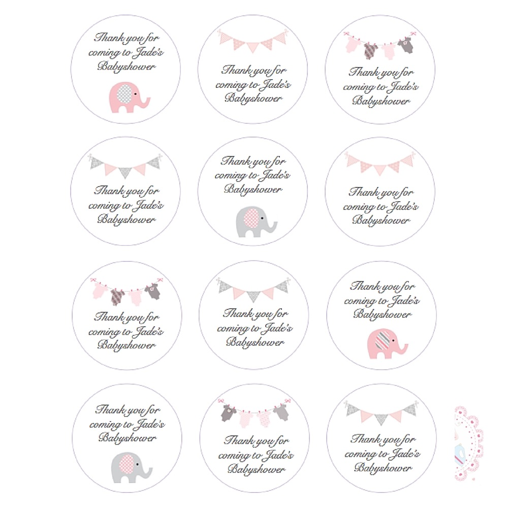 Pink Babyshower Cupcake toppers - personalised