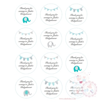 Blue Babyshower Cupcake toppers - personalised