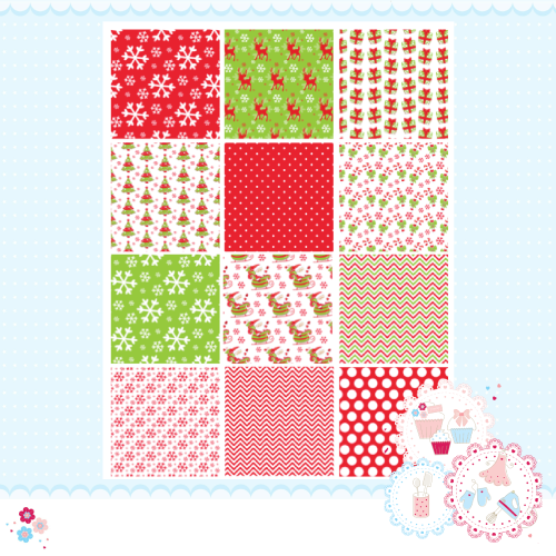 Christmas Red & Green Patchwork A4 Edible Printed Sheet x 12 squares
