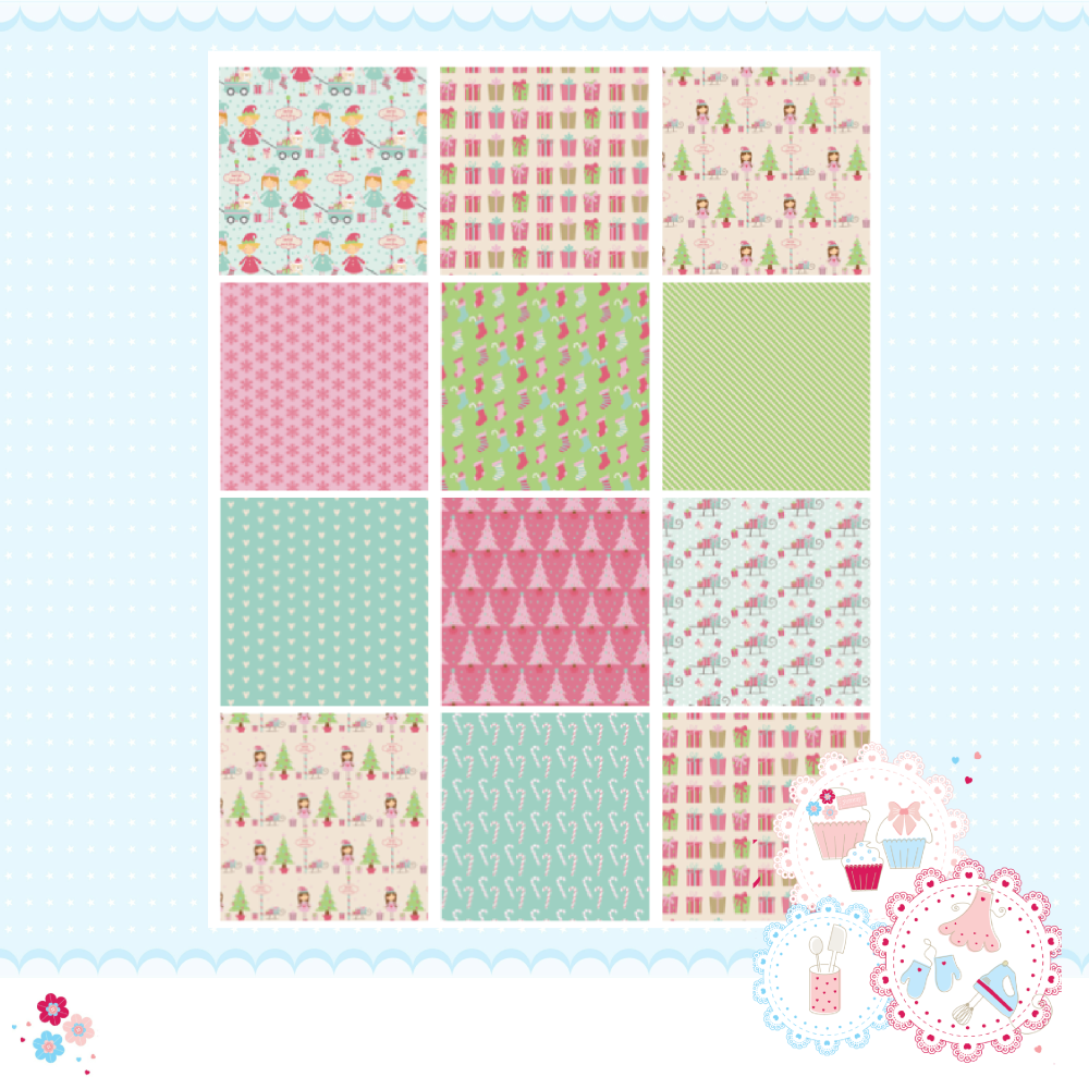Christmas Pink Elves Patchwork A4 Edible Printed Sheet x 12 squares