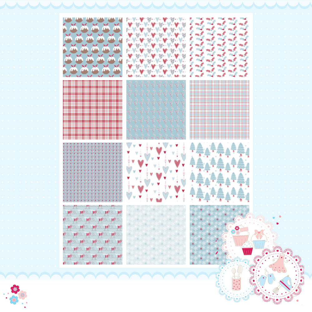 Christmas Blue Hearts & Puddings Patchwork A4 Edible Printed Sheet x 12 squ