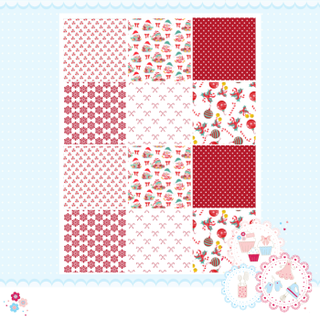 Christmas Red Patchwork A4 Edible Printed Sheet x 12 squares