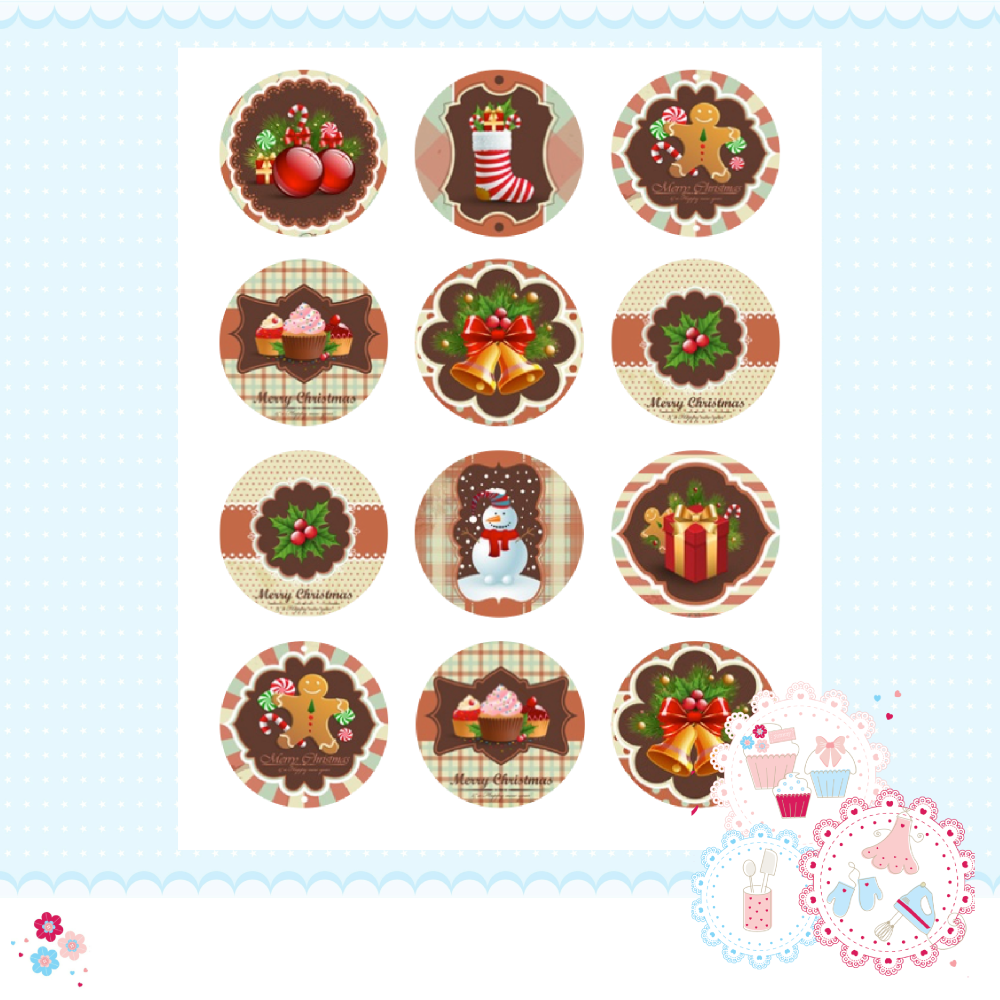 Edible Cupcake Toppers x 12 - Vintage Christmas Designs