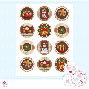 Edible Cupcake Toppers x 15 - Vintage Christmas Designs