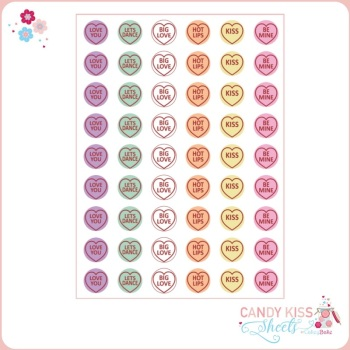 Love Heart Candy Kiss Sheet