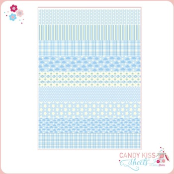 Blue Patterns Candy Kiss Sheet