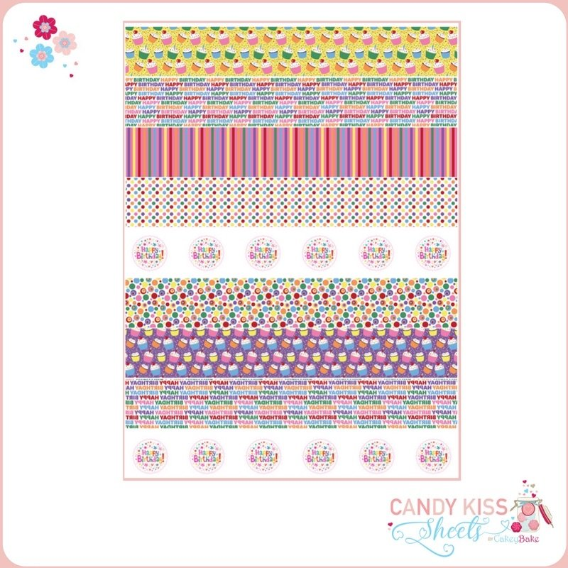 Colourful Happy Birthday Candy Kiss Sheet