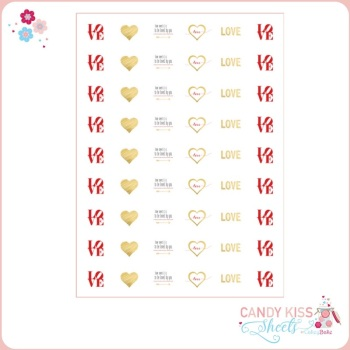 Gold Love Candy Kiss Sheet