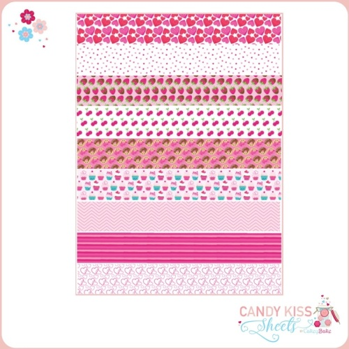Hearts and Berries Candy Kiss Sheet