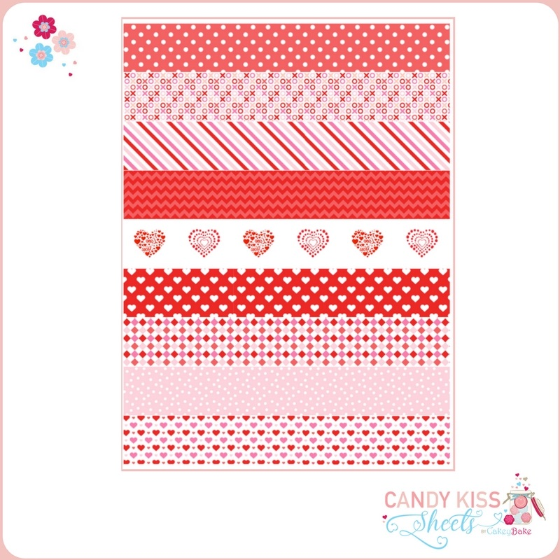 Love Heart Pink & Red Candy Kiss Sheet