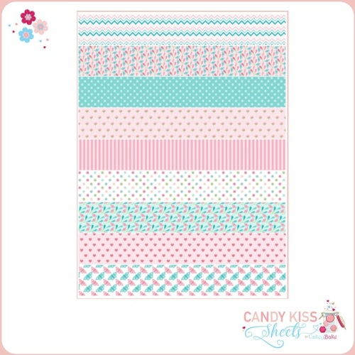 Turquoise & Pink Candy Kiss Sheet