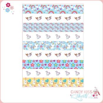 Unicorn Candy Kiss Sheet (individual & stripes)
