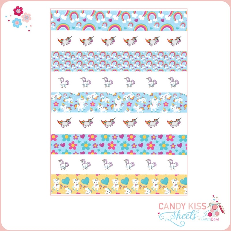 Unicorn Candy Kiss Sheet (individual & stripes)