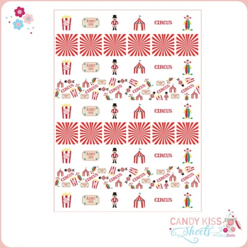 Circus Themed Candy Kiss Sheet