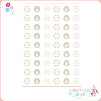 Delicate Pastel Easter Bunny Candy Kiss Sheet