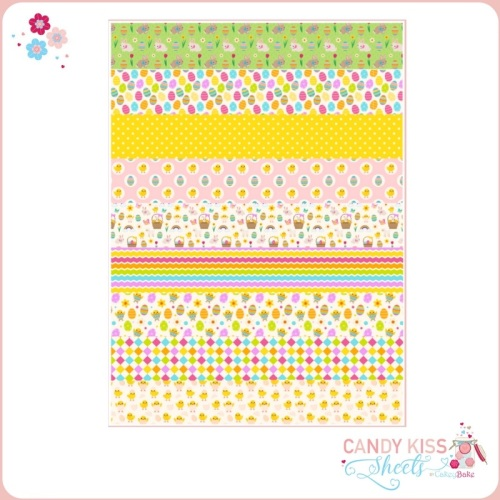 Bright Easter Patterns Candy Kiss Sheet