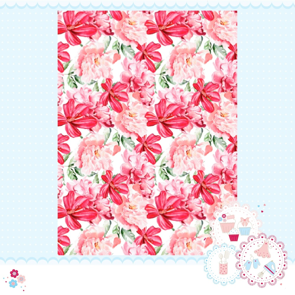 Large Peony & Lily Pink A4 Edible Printed Sheet