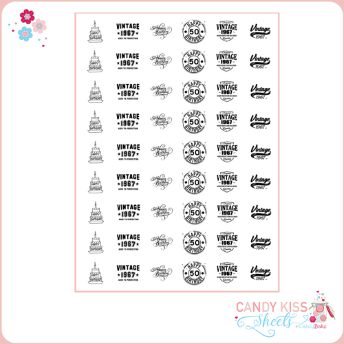 50th Birthday Candy Kiss Sheet