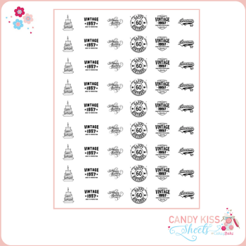 60th Birthday Candy Kiss Sheet