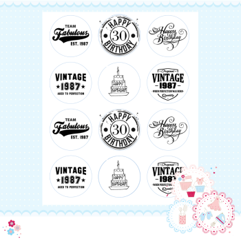 Edible Cupcake Toppers x 12 - 30th Birthday Cupcake Toppers, black and white