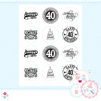 Edible Cupcake Toppers x 12 - 40th Birthday Cupcake Toppers, black and white