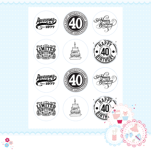 Edible Cupcake Toppers x 12 - 40th Birthday Cupcake Toppers, black and whit