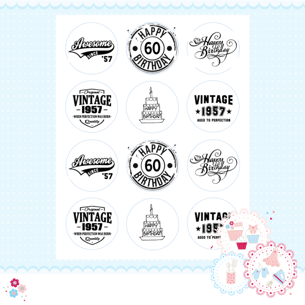 Edible Cupcake Toppers x 12 - 60th Birthday Cupcake Toppers, black and whit