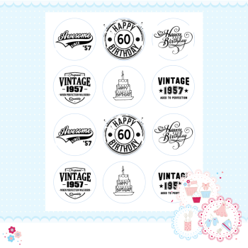 Edible Cupcake Toppers x 12 - 60th Birthday Cupcake Toppers, black and white
