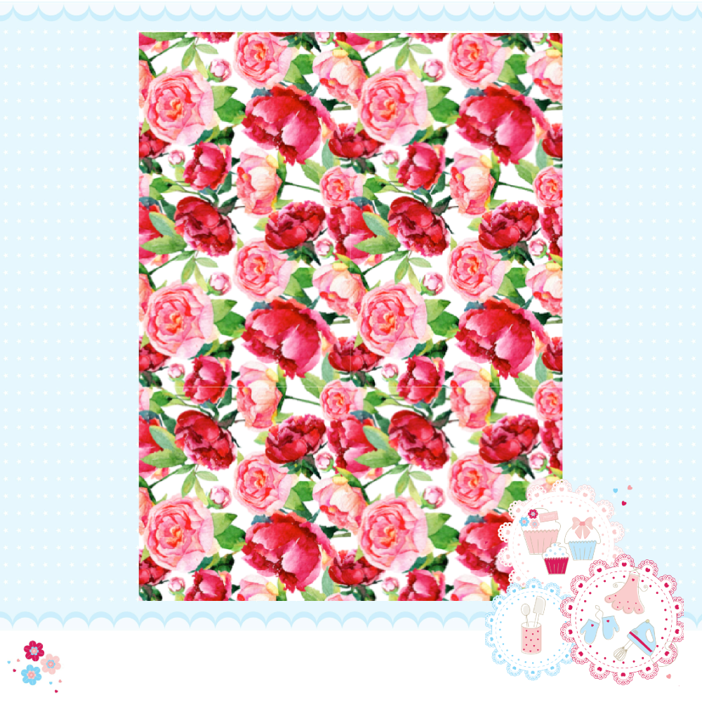Large Peony Roses Pink A4 Edible Printed Sheet